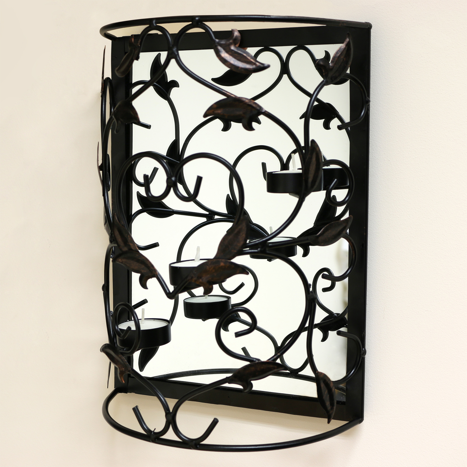 Wall Mounted Metal Candle Holder with Mirror/Sconce/Shabby ... on Decorative Wall Sconces Candle Holders Centerpieces Ebay id=64539