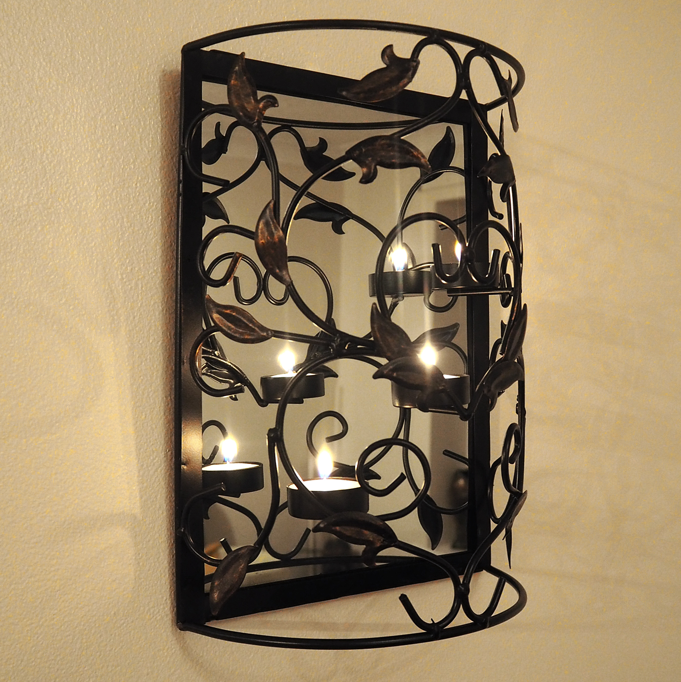 Wall Mounted Metal Candle Holder with Mirror/Sconce/Shabby ... on Decorative Wall Sconces Non Lighting id=34518