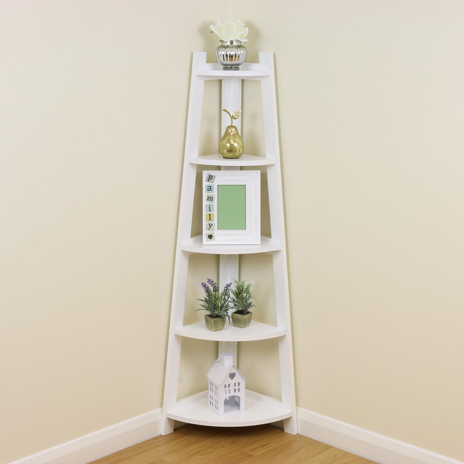 White 5 Tier Corner Shelf/Shelving Unit Stand Home ... on Bathroom Corner Shelf  id=67929