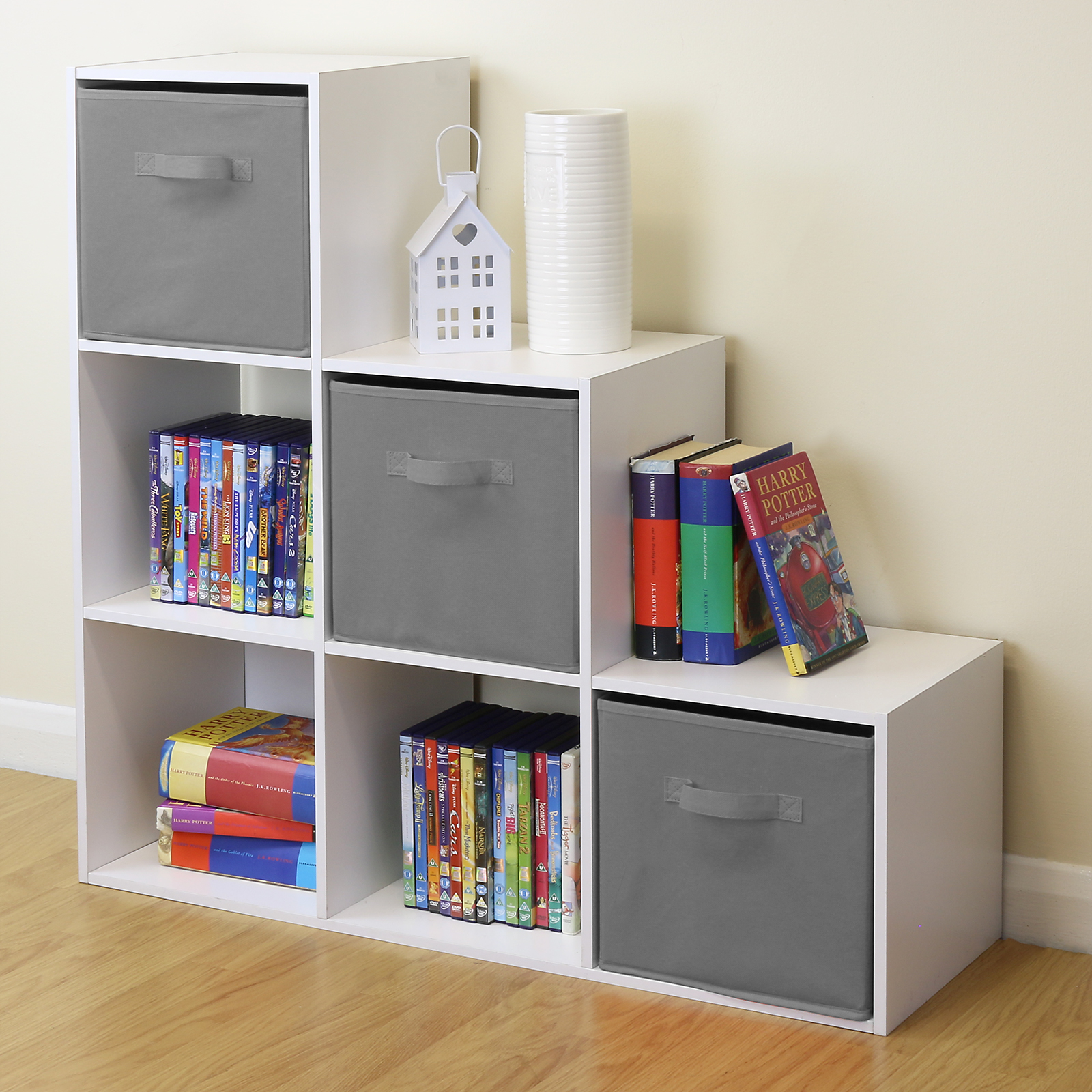 White 6 Cube Kids Toy Games Storage Unit Girls Boys Bedroom Shelves 3 Grey Boxes 5051990731240 Ebay