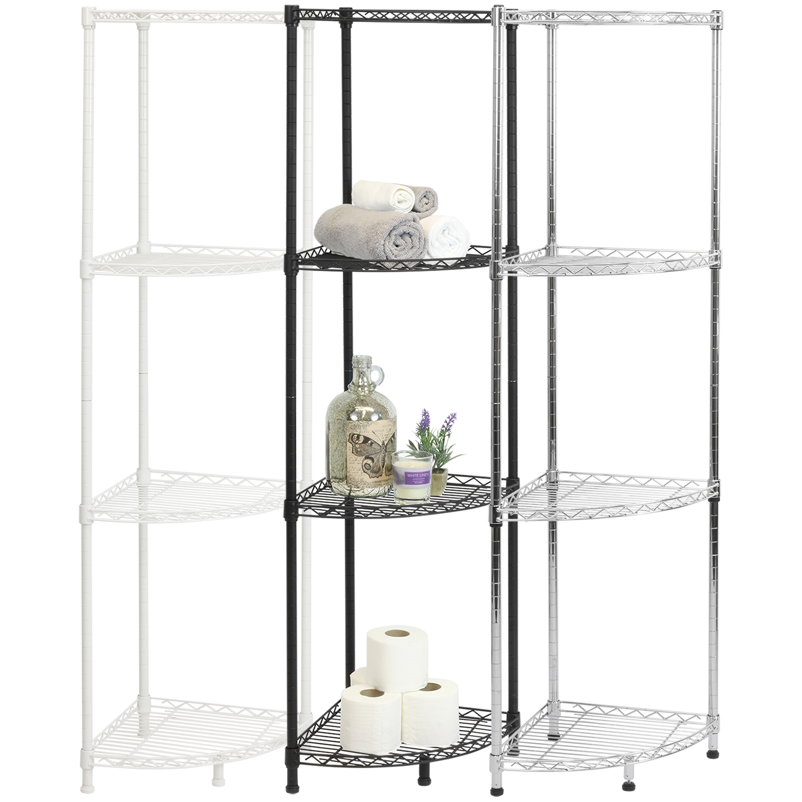 Details About Hartleys Metal Wire Corner Shelving Unit Storage Kitchen Pantry Shelves Racks