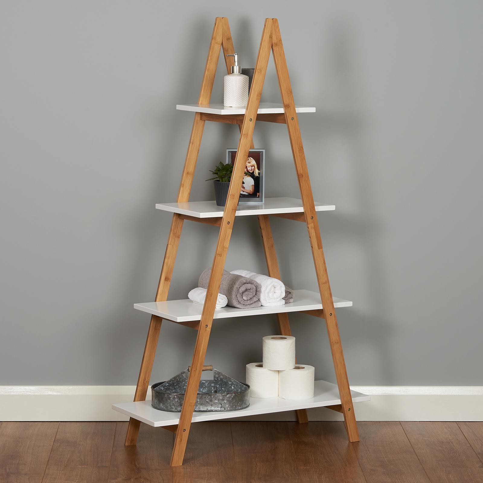 Roost White Ladder Bookshelf Shelf Unit Bamboo Bookcase Bathroom Storage Display 5051990952706 Ebay