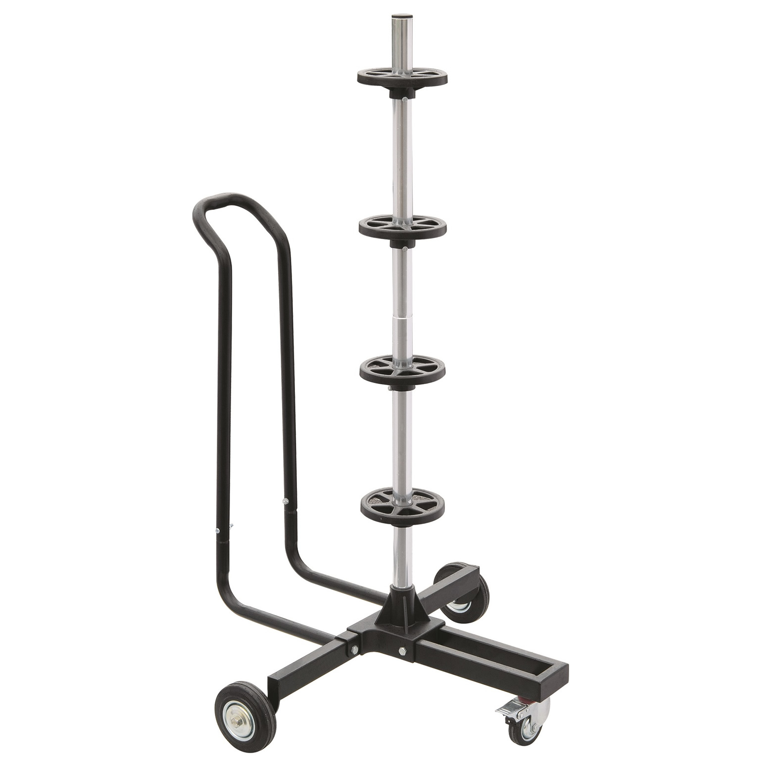 Car Alloy 4 Wheel Mobile Tyre Storage Tree Stand Trolley