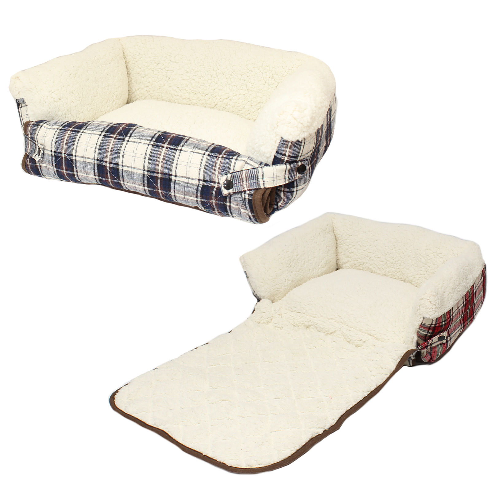 Me Amp My Pet Check Cosy Sheepskin Fold Out Cat Dog Bed Sofa