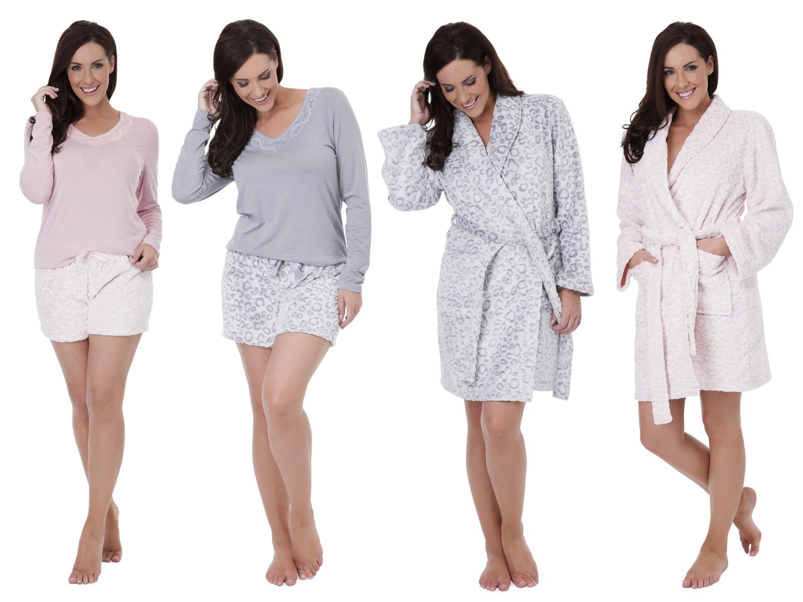 Womens Luxury Leopard Nightwear Range Robe Dressing Gown