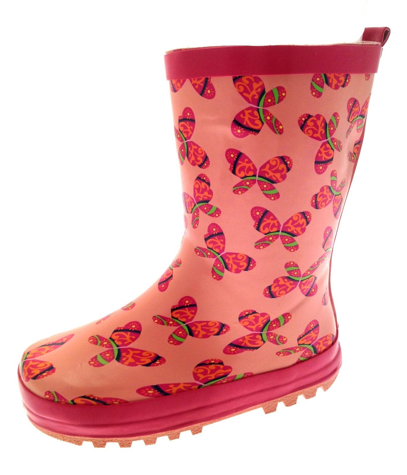 Girls Wellies Rubber Rain Snow Boots Winter Wellingtons
