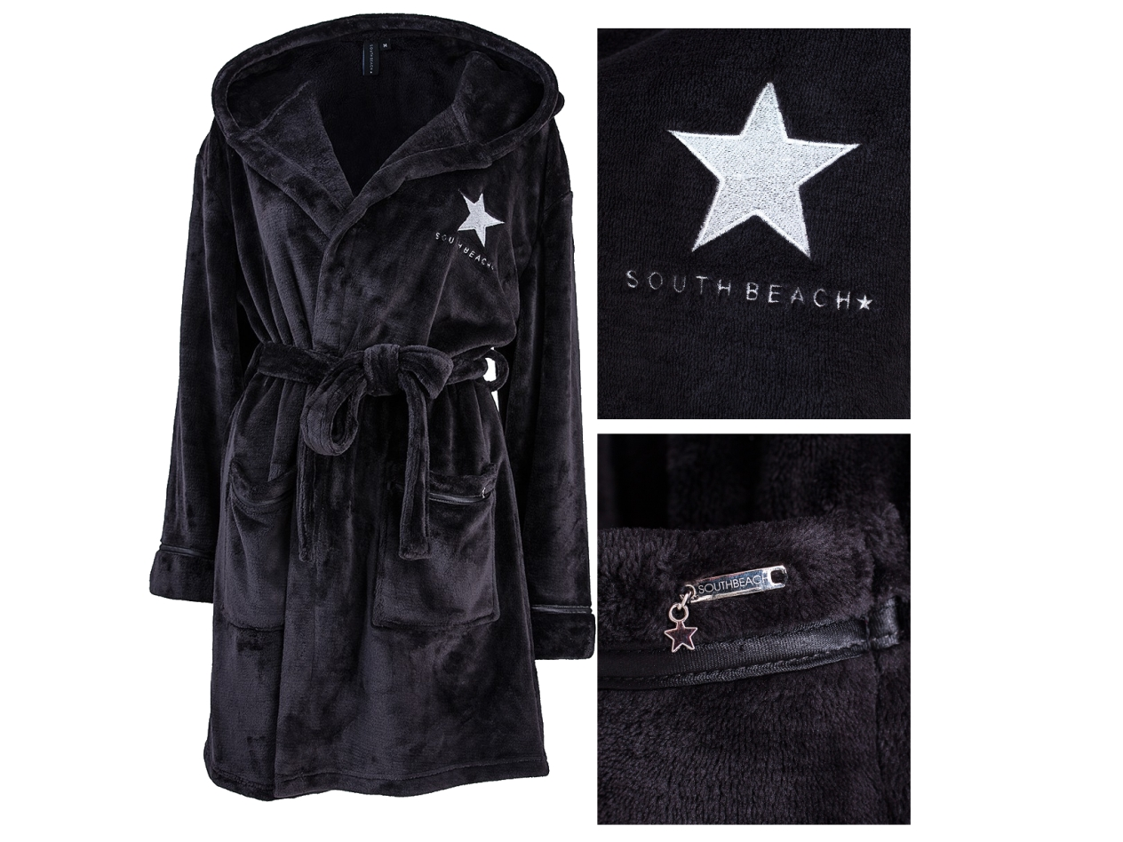 SOUTH BEACH STAR WOMENS HOODED SHORT BATH ROBE DRESSING
