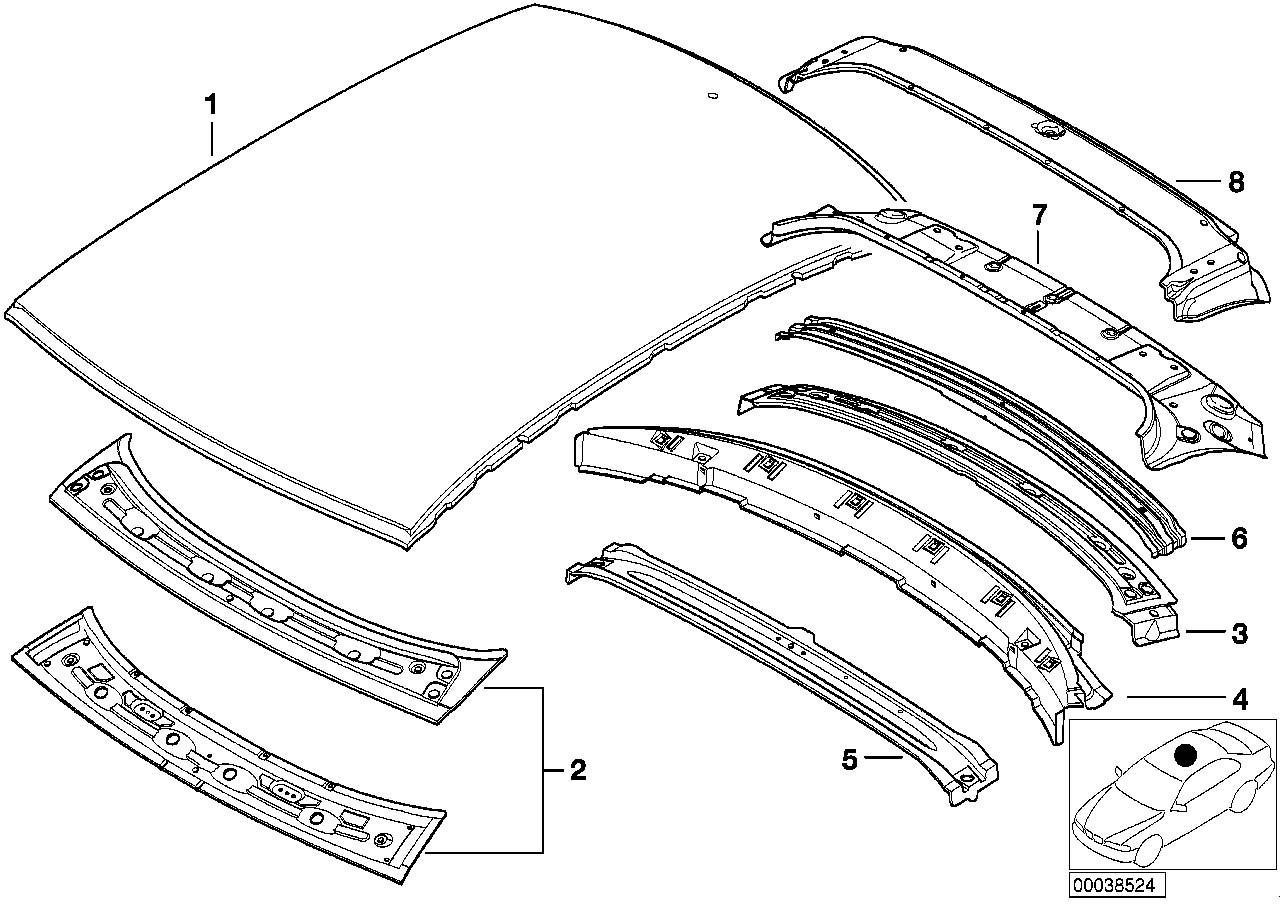 Bmw 3series Front Roof X Member Upper Apron
