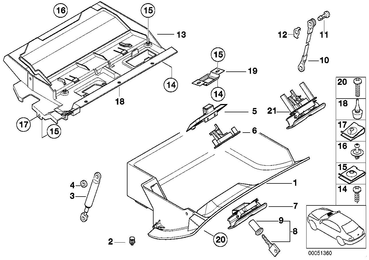 Bmw 5 Series E39 Glove Box Lock Mechanism Without Key