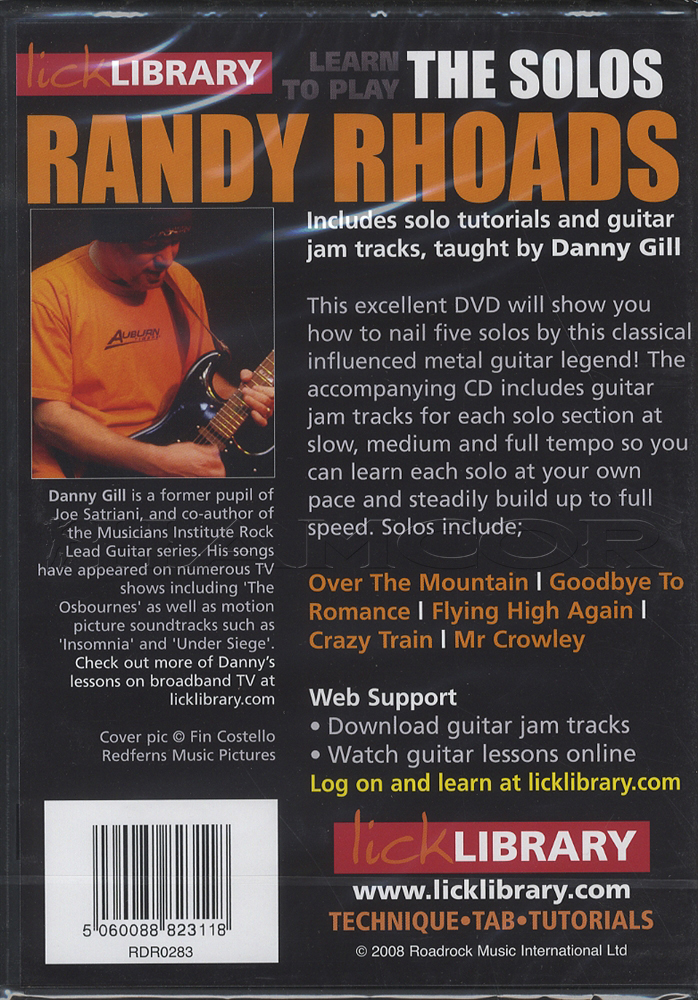 Learn To Play Randy Rhoads The Solos Guitar DVD Amp CD