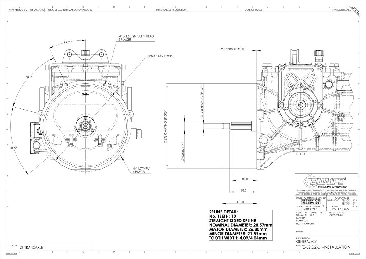 Quaife Zf Transaxle 5 Speed H Pattern Gearbox