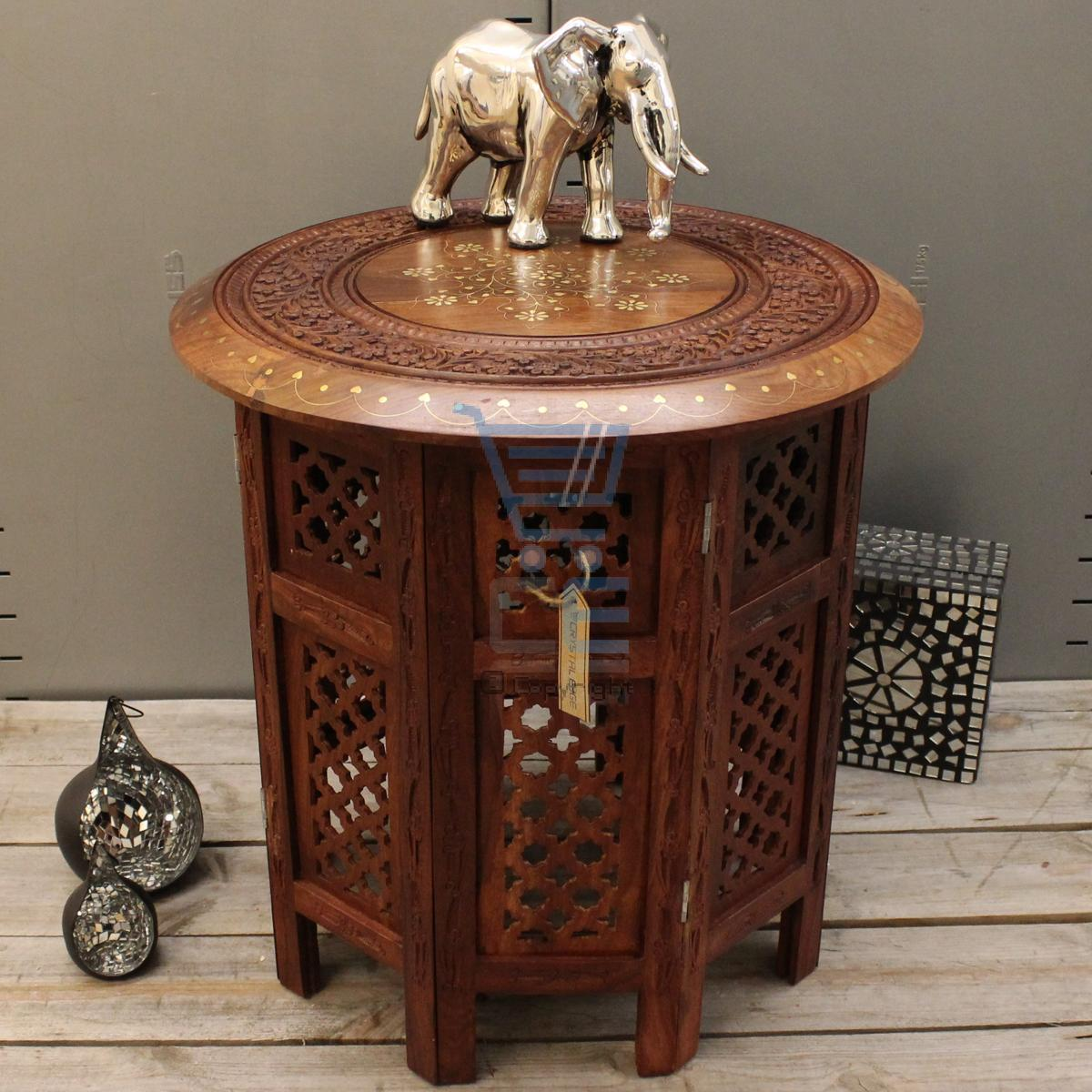 Wooden End Hand Tables Carved
