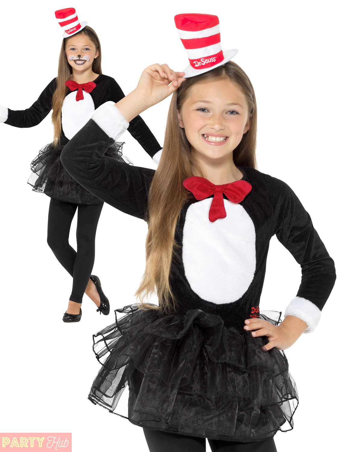 Girls Cat In The Hat Costume Childs Dr Seuss Fancy Dress