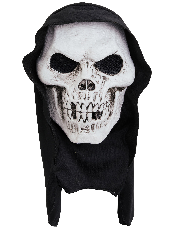 Adults Skull Hooded Terror Mask Mens Skeleton Halloween