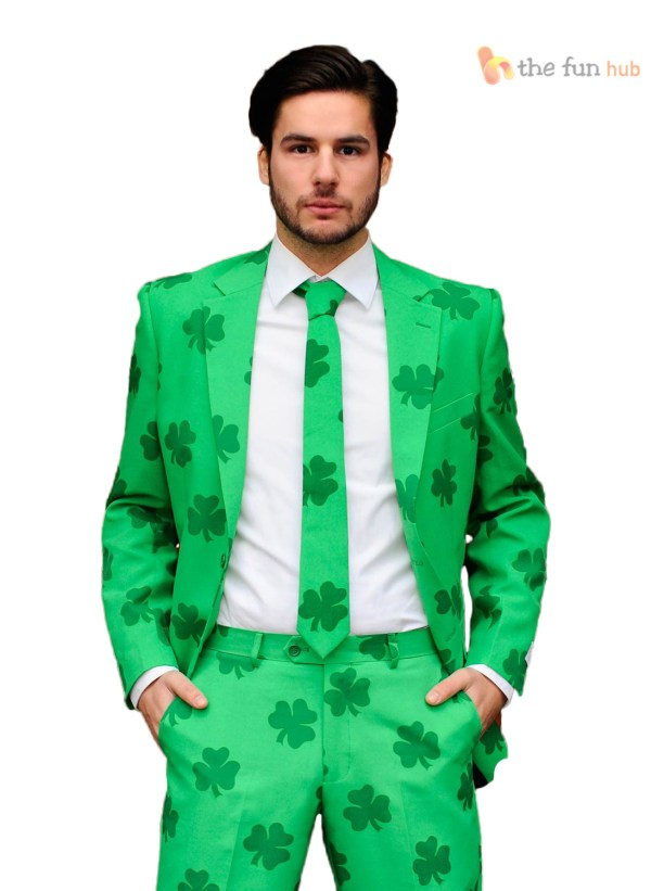 Mens St Patricks Day Fancy Dress Green Irish Shamrock ...