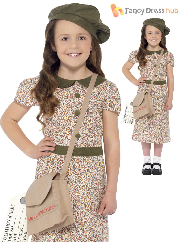 Girls S Ww2 Evacuee Costume World War Two Ve 40 S Kids