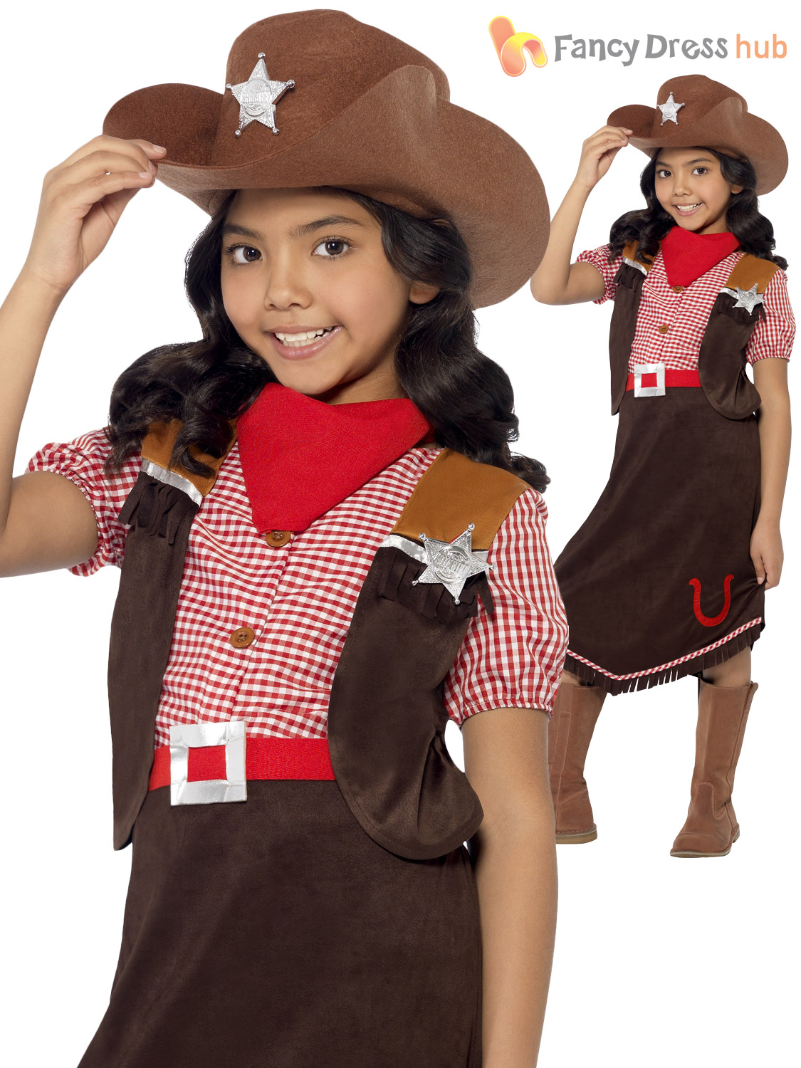 Deluxe Girls Cowgirl Costume Wild West Cow Sherriff Kids