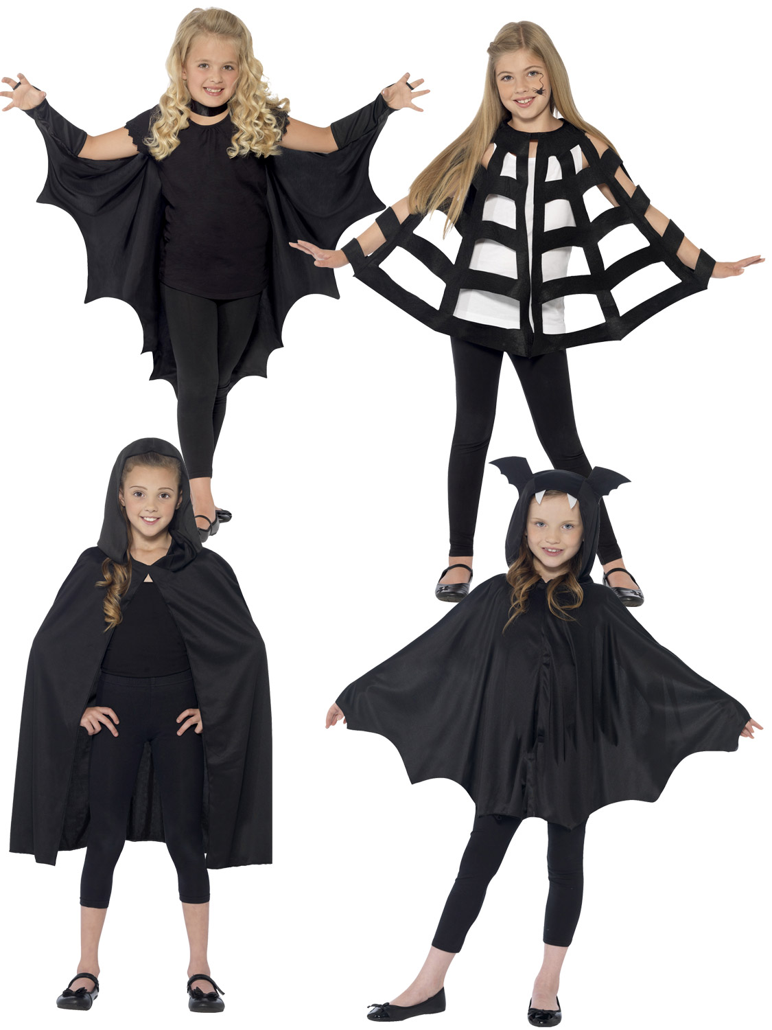 Kids Halloween Black Hooded Bat Spider Cape Cloak Boys