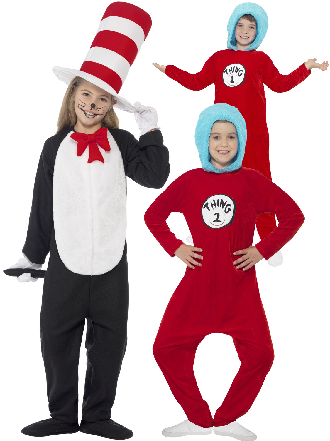 Kids Cat In The Hat Costume Dr Seuss Thing 1 2 Girls Boys