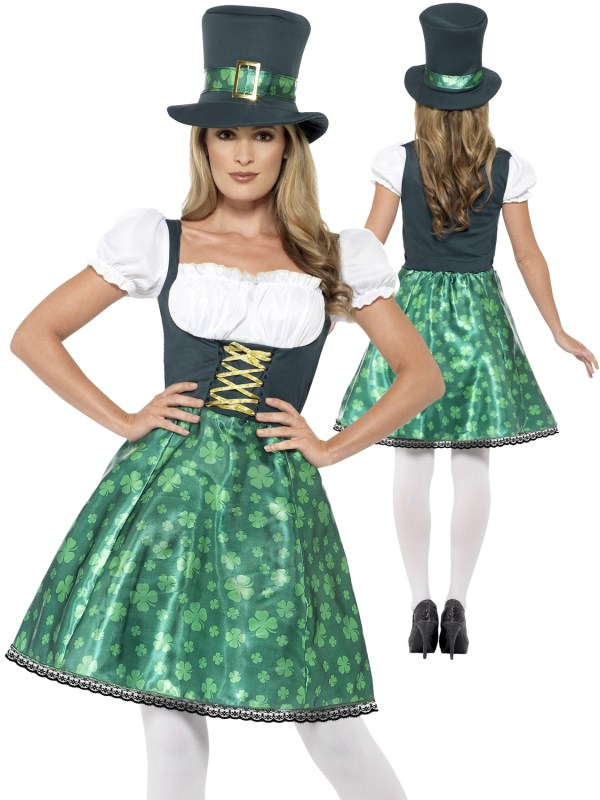 Ladies Leprechaun Lass Costume Adults Irish Ireland St ...