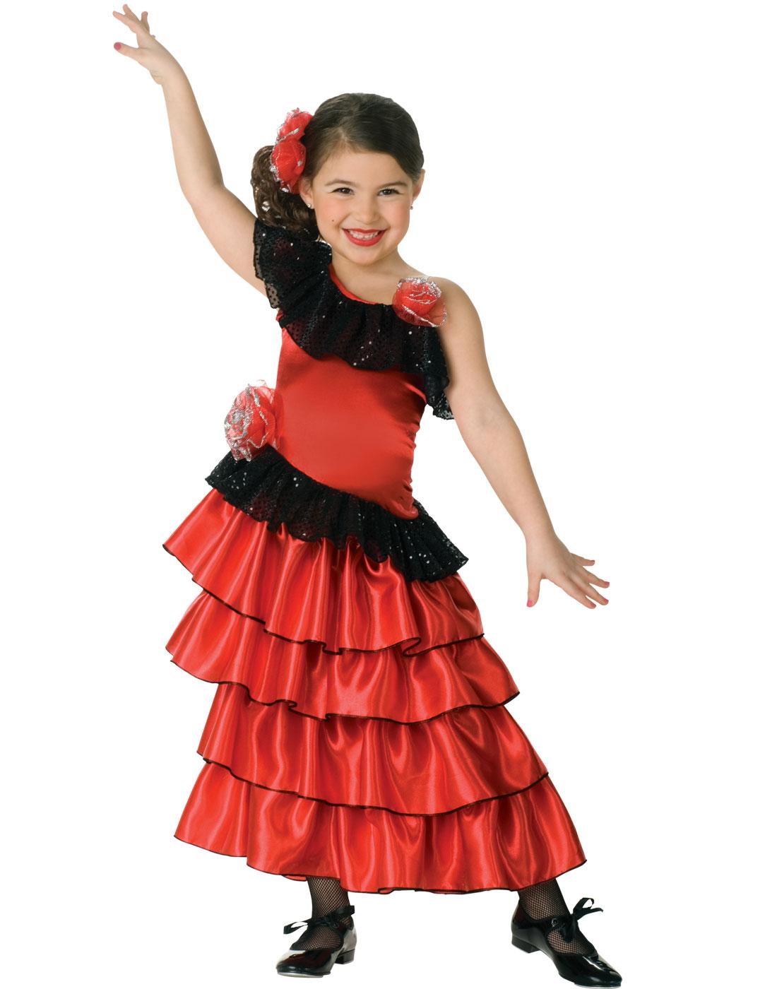 Spanish Senorita Girls Fancy Dress Flamenco Dancer Kids