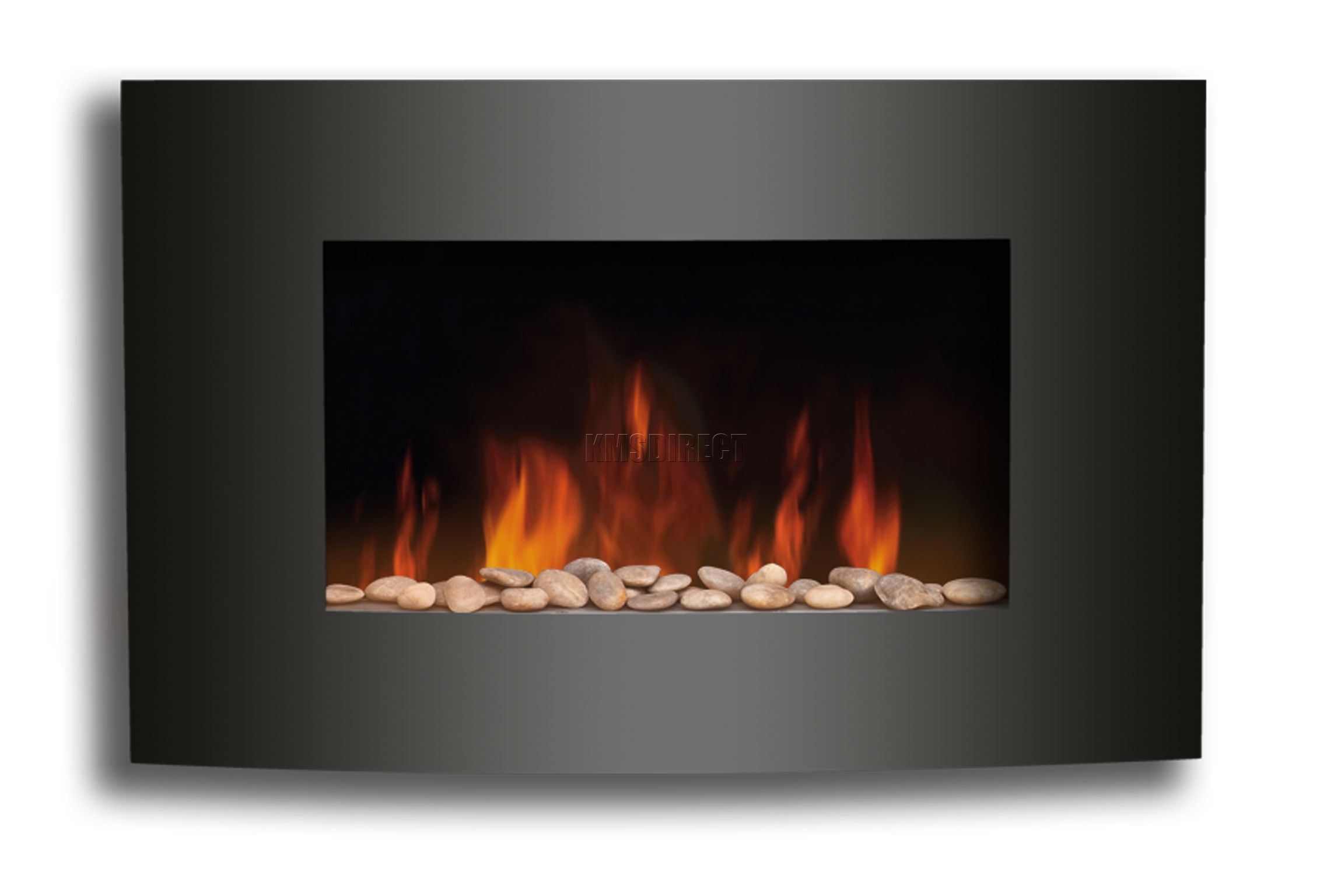 Electric Fire Fireplace Black Curved Glass Heater Flame