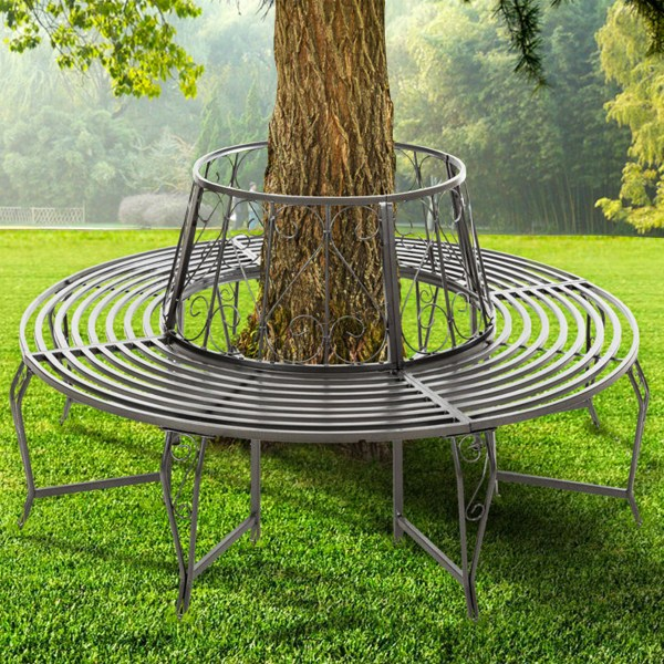 steel roundabout garden bench FoxHunter Outdoor Garden Tree Bench Round Circular Steel