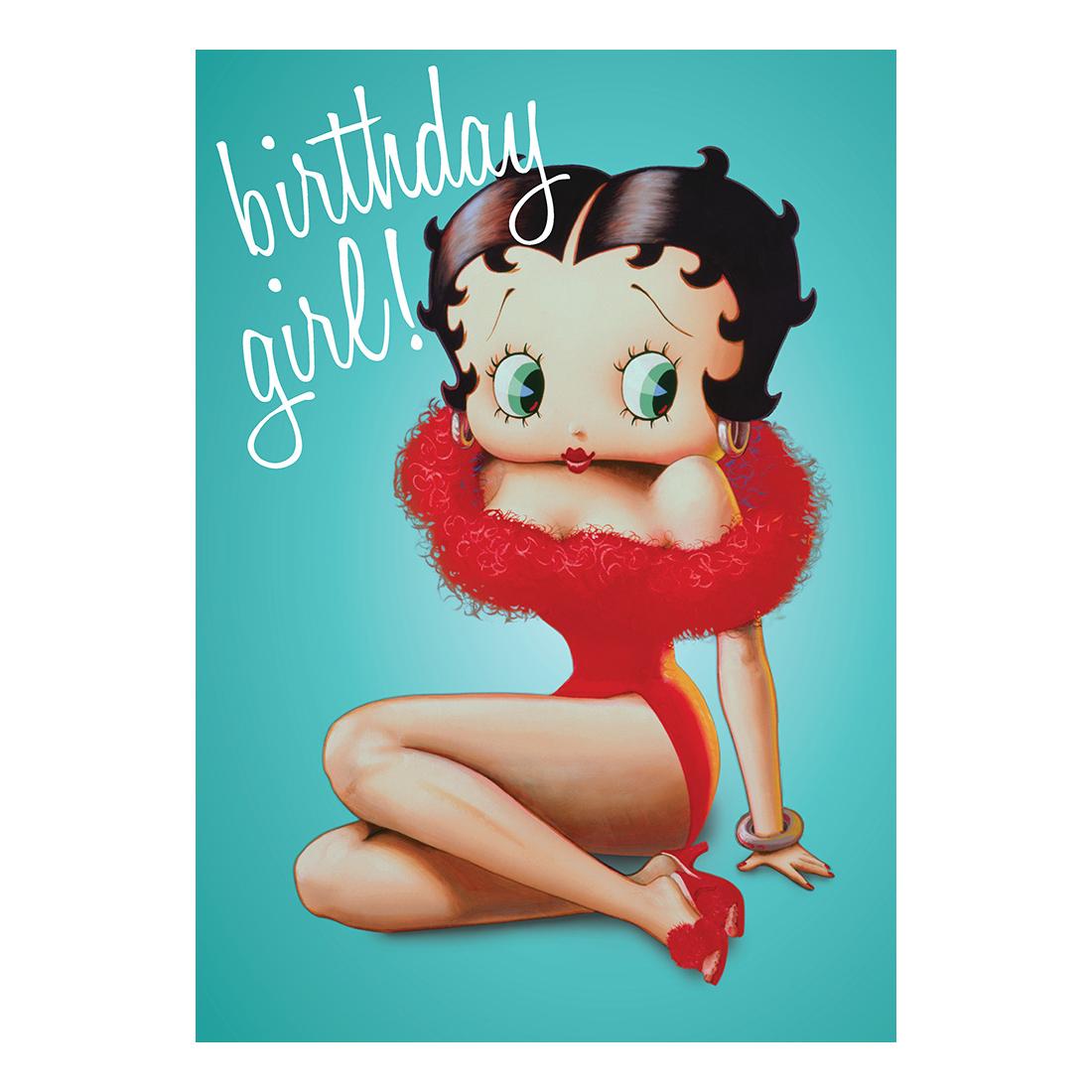 Betty Boop Birthday Girl Greeting Card T Blank Retro