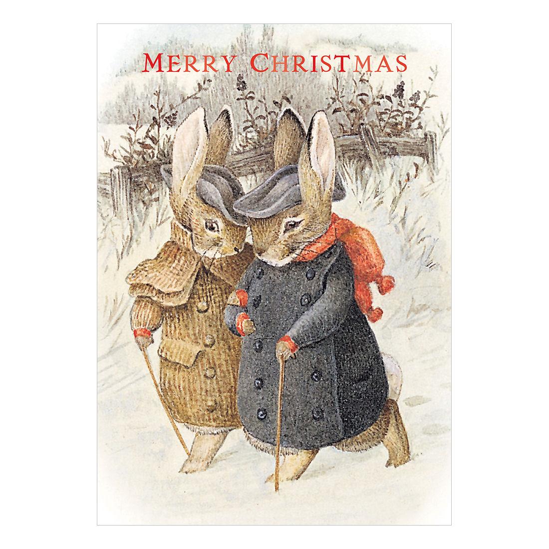 MR Amp MRS RABBIT CHRISTMAS CARD RETRO VINTAGE BLANK