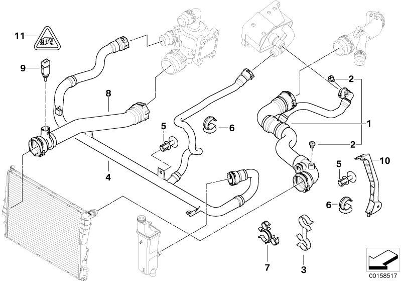 BMW Genuine Expansion Tank Radiator Coolant Water Pipe