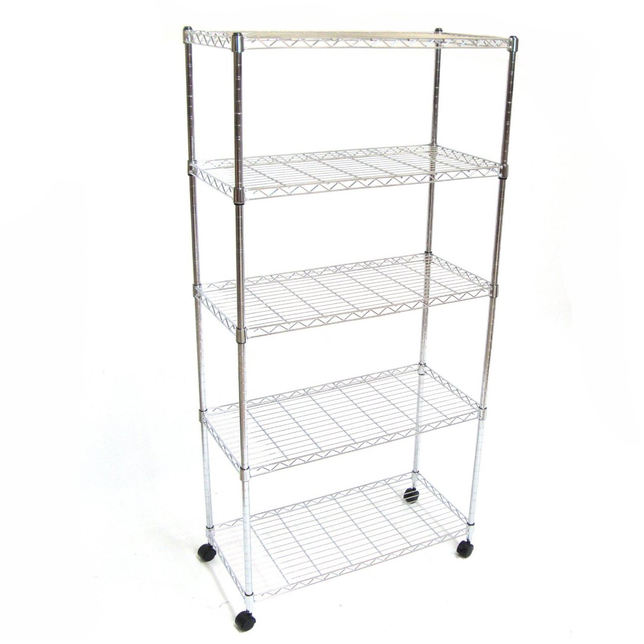 Wire Metal Shelving Storage With Wheels X5 Tier Shelf