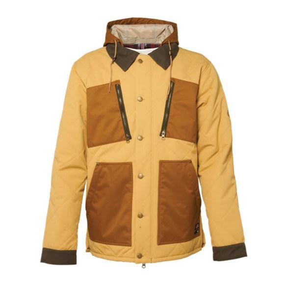 686 Dickies Miner Snowboard Jacket Sand Herringbone Dobby Large Sample 2015