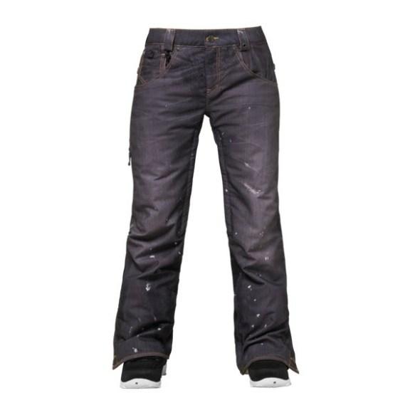 686 LTD 55DSL Cigarette Womens Snowboard Pants Black Denim Medium sample 2015
