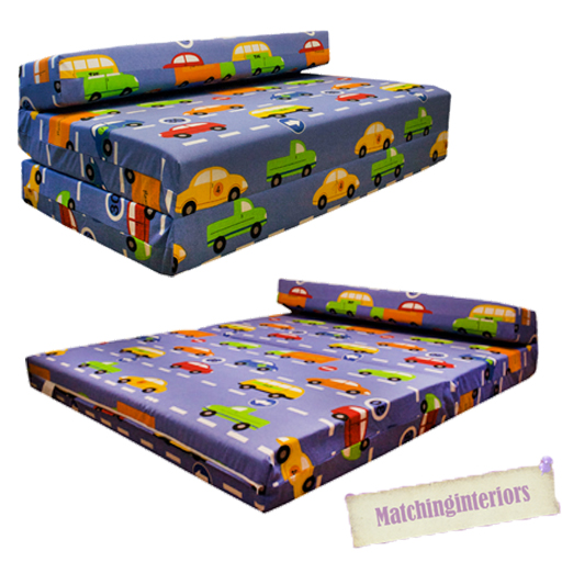 Double Kids Folding Guest Bed Traffic Express Boys Cars Sofabed Sofa Mattress