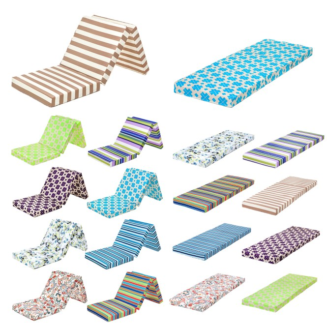 Designer Prints Foldable Foam Mattress Z Bed Fold Guest Futon Folding Chair Cube