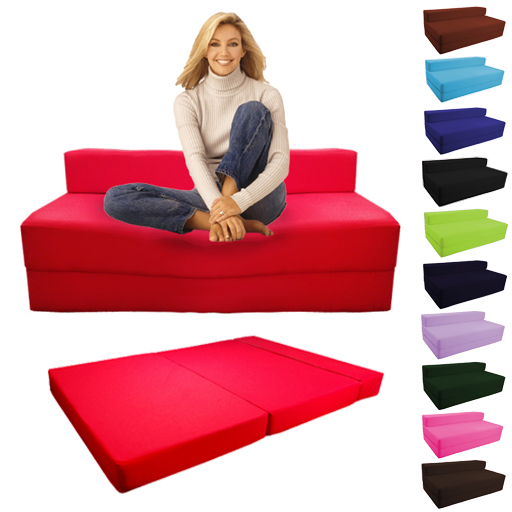 Fold Out Foam Double Guest Z Bed Chair Folding Mattress Sofa Futon Sofabed