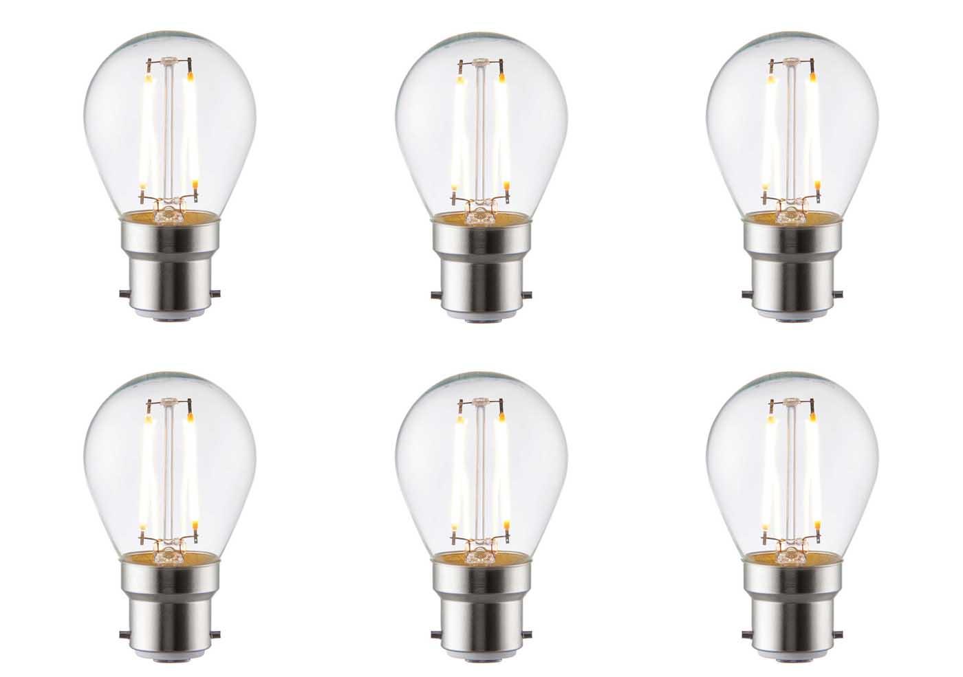 6 X Saxby B22 Led Light Bulb Filament Golf 2 4w Warm White