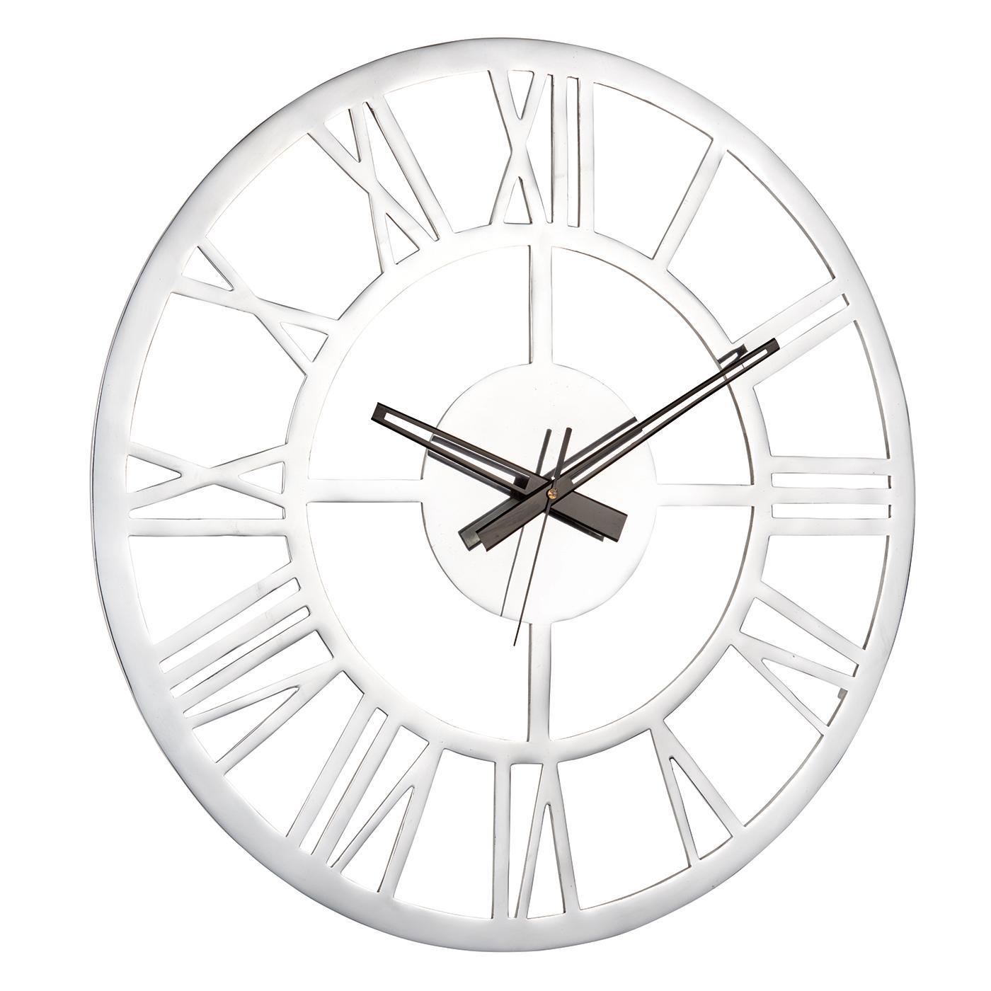 Endon Pavia Large Round Wall Clock Polished Aluminium Dia