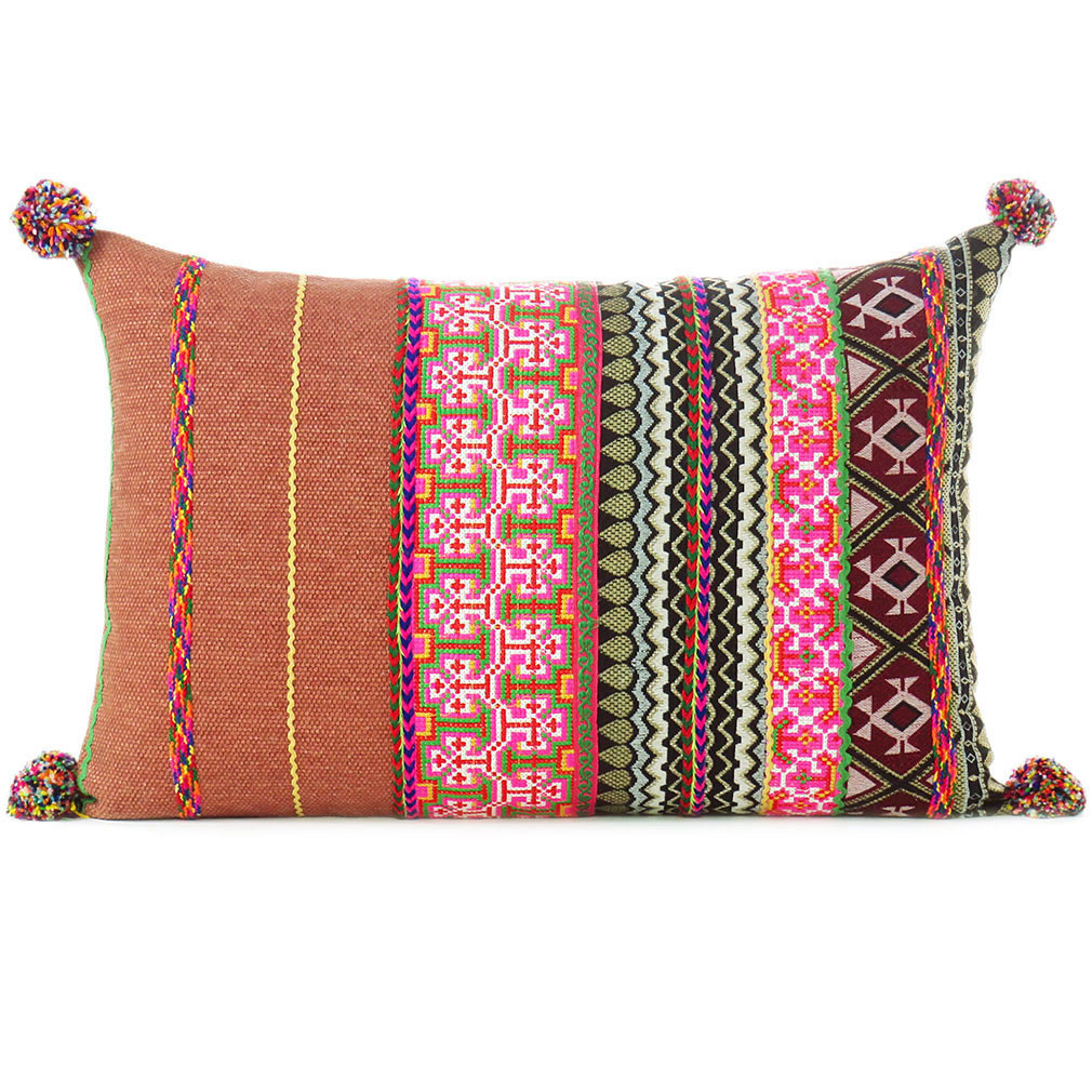 burgundy pink striped colorful decorative sofa throw lumbar bolster pillow cushion cover 16 x 24 dhurrie pillows eyes of india