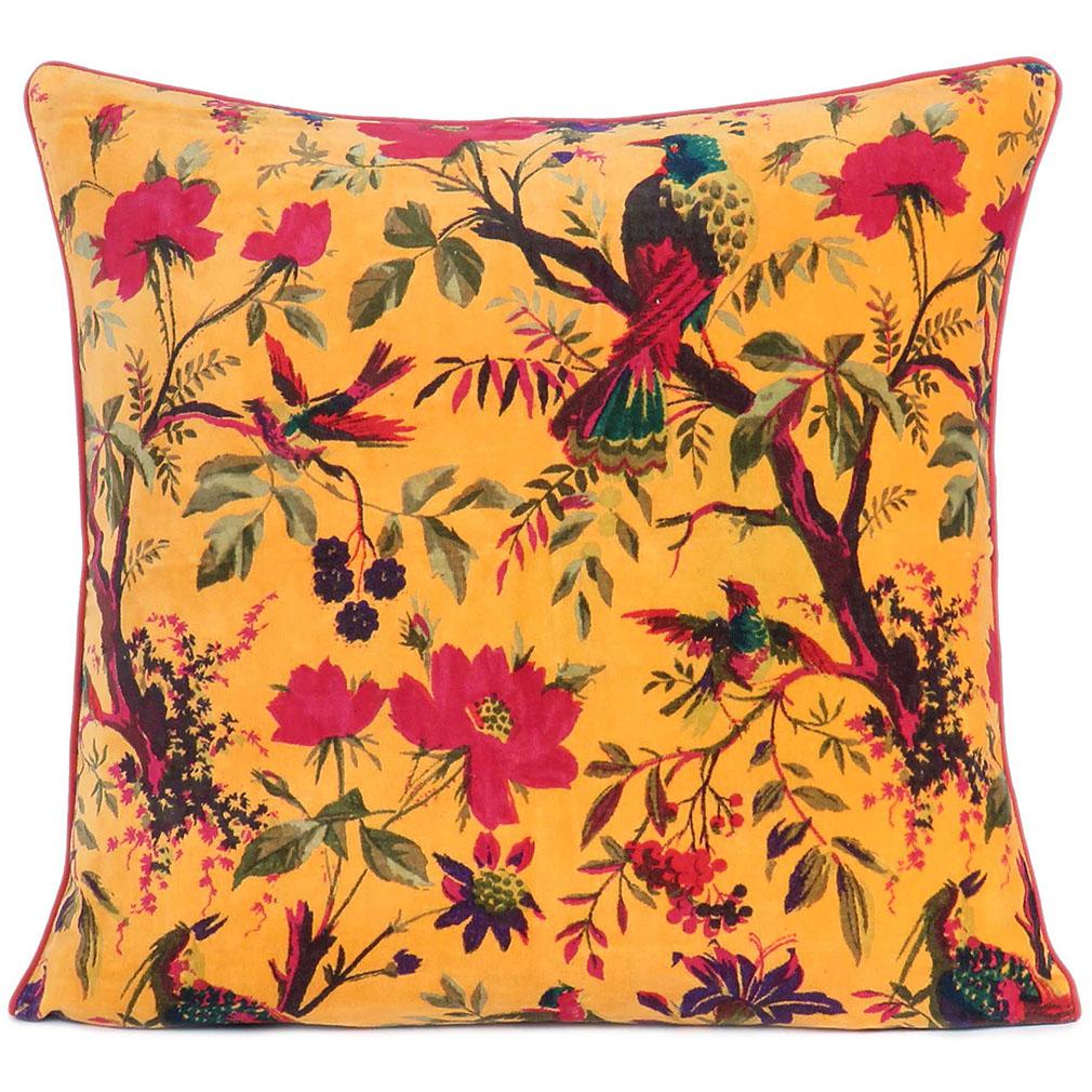 yellow velvet pillow cushion bohemian cushions boho pillows eyes of india