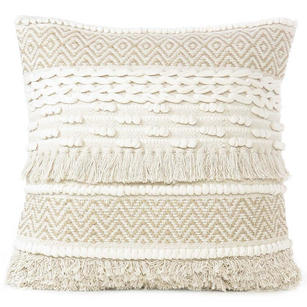 beige cream woven tufted colorful cushion pillow cover fringe sofa couch throw accent 20 tassel fringe pillows eyes of india