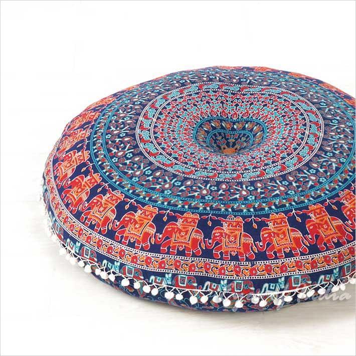 blue red decorative seating round floor pillow boho mandala bohemian hippie meditation cushion cover 32