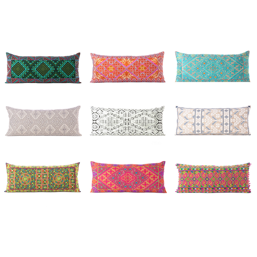 details about colorful embroidered pillow cover case bolster cushion long lumbar sofa couch th