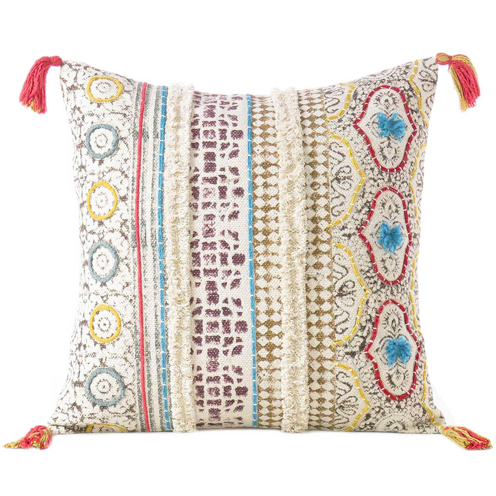 off white cream boho pillow embroidered cushion cover decorative couch sofa throw bohemian boho 20 dhurrie pillows eyes of india