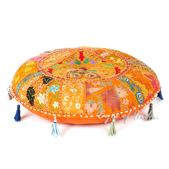 orange round colorful decorative meditation handmade patchwork cushion throw accent boho chic floor pillow cover