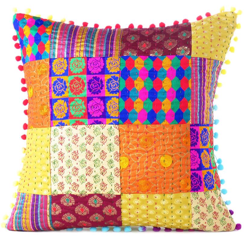colorful kantha brocade throw sofa couch cushion boho bohemian pillow cover 16 boho pillows eyes of india