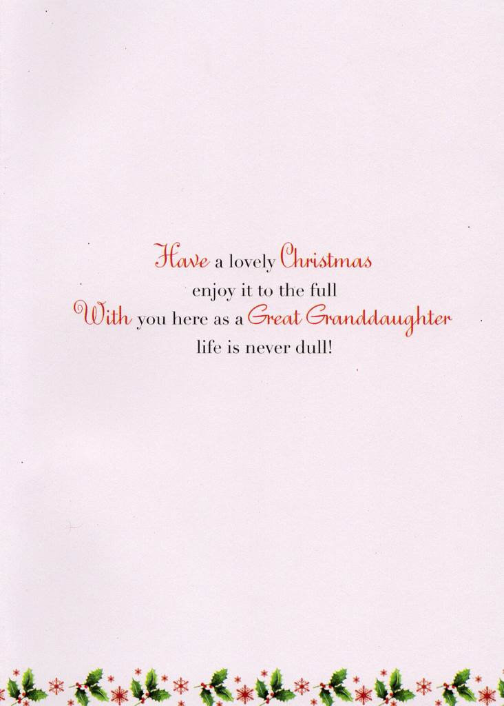 Great Granddaughter Christmas Greeting Card Traditional