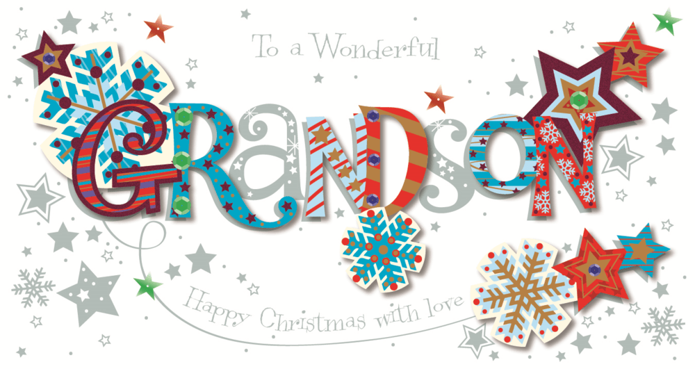 Wonderful Grandson Happy Christmas Greeting Card Cards