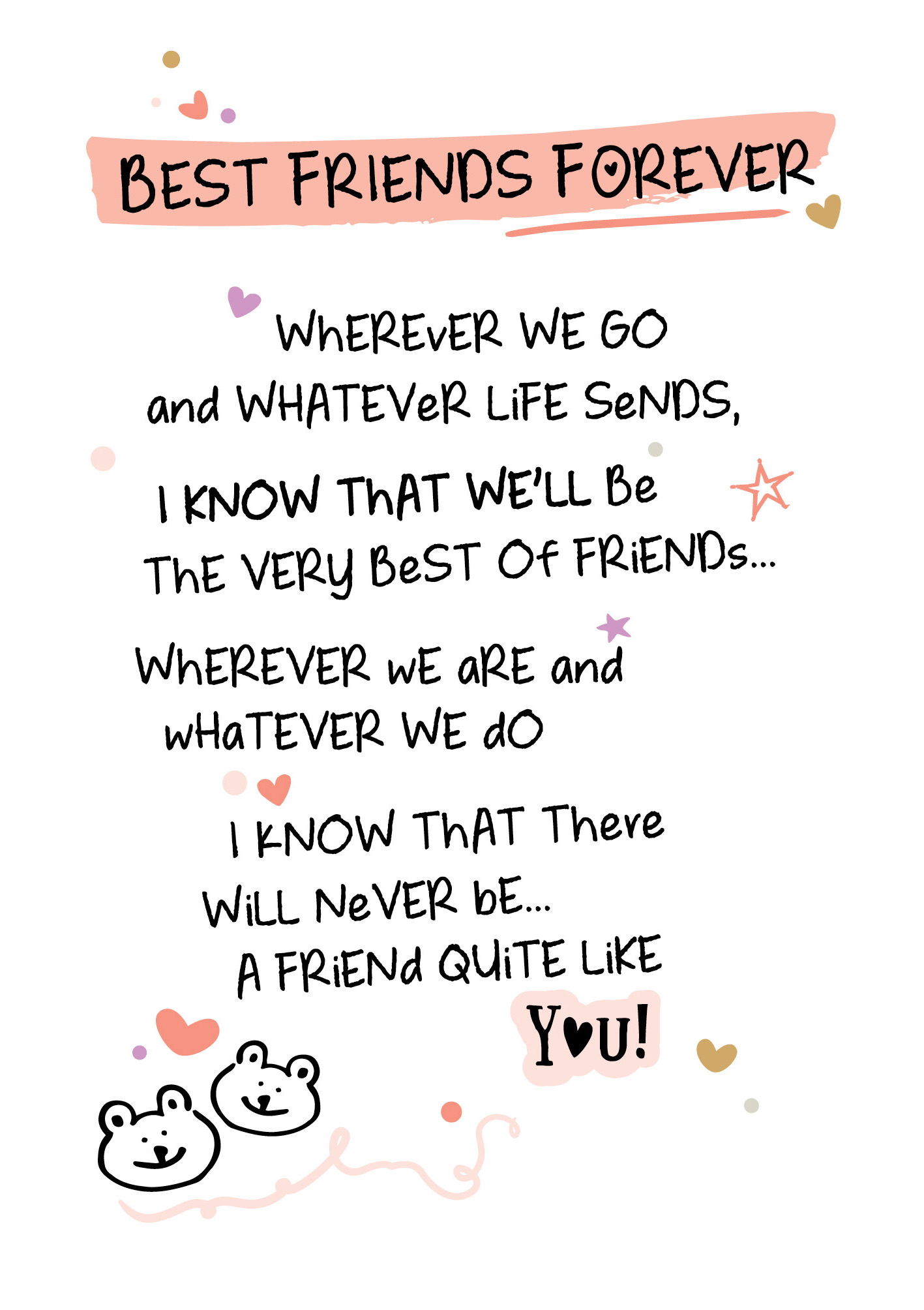 Best Friends Forever Inspired Words Greeting Card Blank