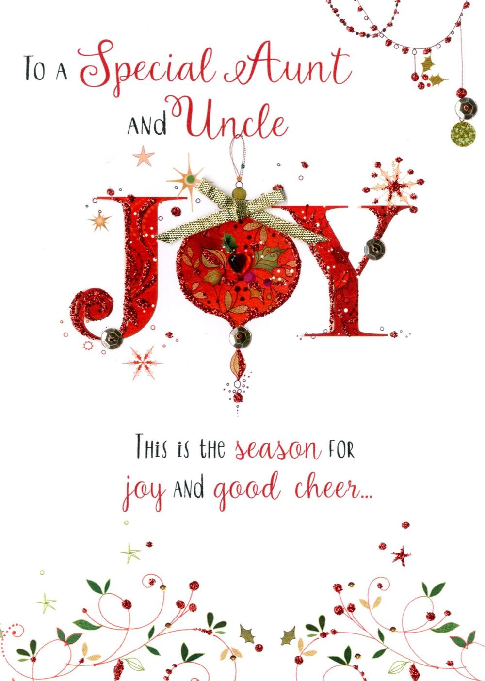 Aunt Amp Uncle Embellished Christmas Card Cards